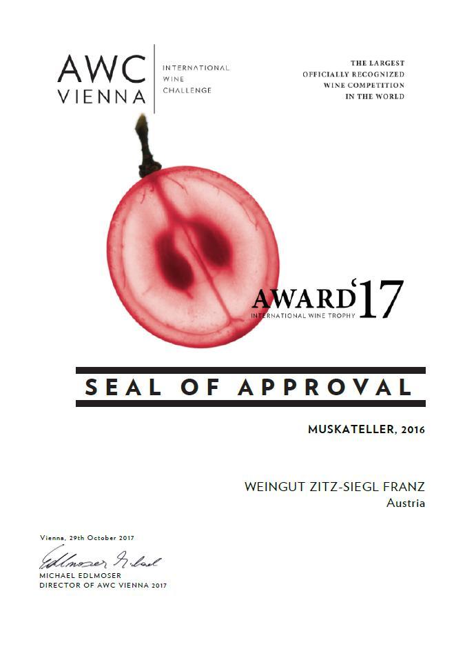AWC Award 17 Gelber Muskateller
