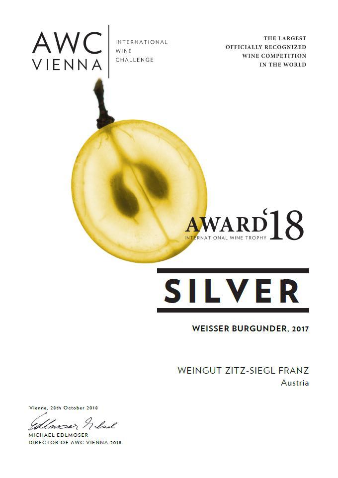 Urkunde Weisser Burgunder AWC Vienna 2018