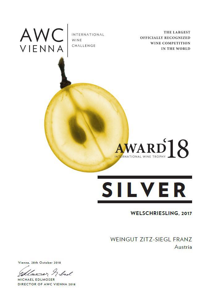 Urkunde Welschriesling AWC Vienna 2018