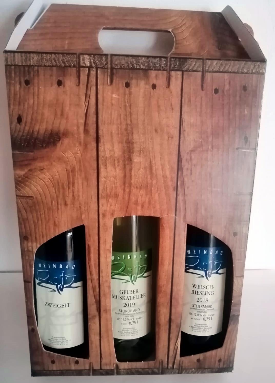 Weingeschenkskarton 3er Braun Holz