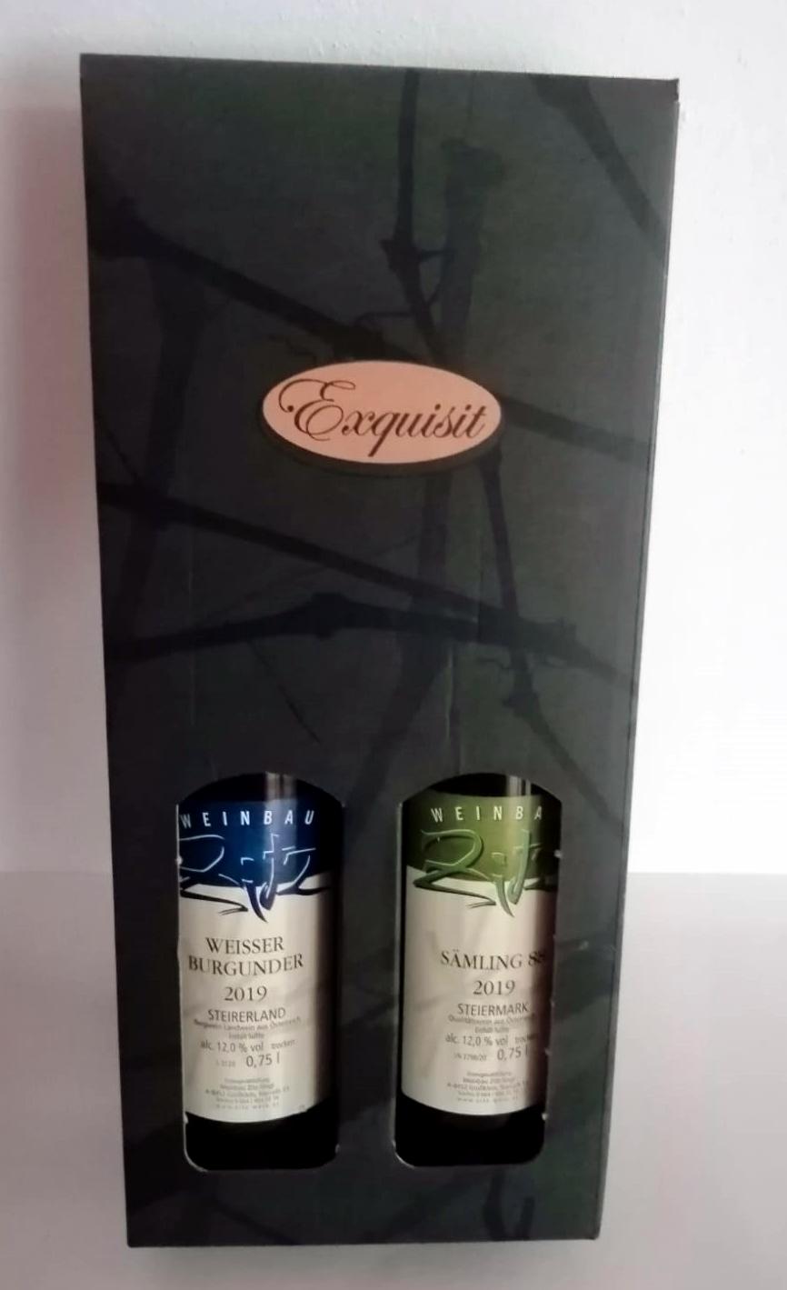 Weingeschenkskarton 2er Grün Exquisit